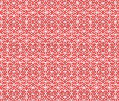 Pearls in a hemp leaf pattern on soft red fabric by su_g on Spoonflower - custom fabric