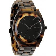 Nixon Time Teller Acetate - Tortoise by: Nixon Nixon Time Teller Acetate Three hand watch Miyota Japanese quartz movement Water resistant up to 100 meters Three link elasticized bracelet with double locking clasp with micro adjust Case di Tortoise Shell Watch, The Bling Ring, Timex Watches, Nixon Watches, Michael Kors Watch, Gold Watch, Watches For Men, Wrist Watches, Jewelry Accessories