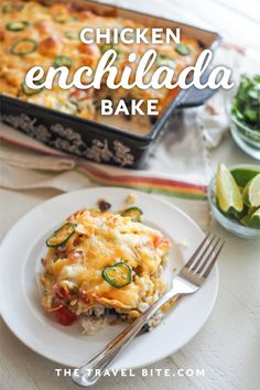 This easy chicken enchilada bake is my go-to for any occasion that needs a casserole. It's so easy to make and is hearty with a hint of spice. Gourmet Recipes, Mexican Food Recipes, Baking Recipes, Vegetarian Recipes, Mexican Meals, Ethnic Recipes, Healthy Recipes, Chicken Enchilada Bake, Chicken Enchiladas