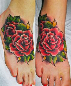 Roses foot - Rose tattoos look very nice on the feet. Despite the high morbidity of this place, many people decide to decorate their feet with colorful tattoos. It is worth mentioning, that the healing process of a tattoo on this part of the body requires a quality care and attentiveness.