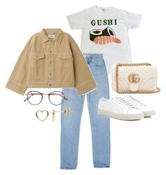 A fashion look from March 2018 featuring Yves Saint Laurent sneakers, Gucci shoulder bags and Estella Bartlett earrings. Browse and shop related looks. Ulzzang Fashion, Kpop Fashion Outfits, Korean Outfits, Retro Outfits, Cute Casual Outfits, Stylish Outfits, Pink Dress Outfits, Casual Pants, Fashion Dresses