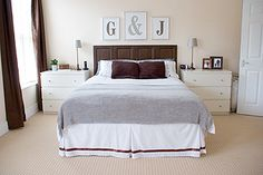 Make a headboard from Ikea cabinet doors. Attach together on back with small srews and metalplates and attach to wall