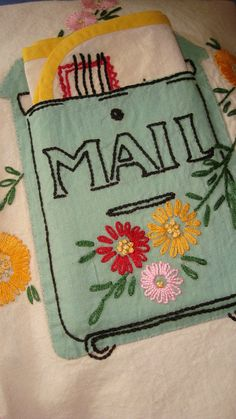 Sketchbook inspiration...I remember the excitement of getting mail when I was a kid.... 1940's tablecloth on etsy