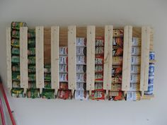 Canned food storage flush with the wall - takes very little space. Comes with instructions!!!  WOW...I love this! Canned Good Storage, Storage Ideas, Storage Racks, Wall Storage, Pantry Storage, Lumber Storage, Kitchen Cabinet Organization, Deep Freezer Organization, Garage Storage