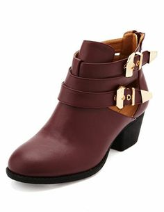 Cutout Metal Buckle Ankle Bootie: Charlotte Russe