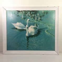 We'd lusted after this print ourselves for many years and have our own version hanging at home. A classic retro print from the wonderful Vernon Ward, showing a pair of majestic swans calmly swimming through glassy water. We date this print to 1960's. <b>Condition</b>Print is in good vintage condition, with just a few marks that are unnoticeable when hung. The original frame may require some work if you're so inclined. There are several large chips t...