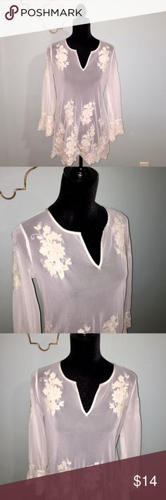 Alfani cream lace sheer top size xs Alfani cream sheer lace top top. Size extra small. 100% polyester. Alfani Tops Blouses
