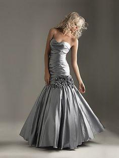 Floor Length Sliver Mermaid Bridesmaid Dress with hand-made flowers