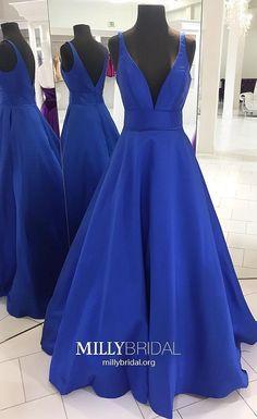 Royal Blue Prom Dresses Long,Princess Prom Dresses V-neck,Elegant Prom Dresses Open Back,Satin Prom Dresses Sleeveless