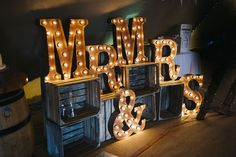 Light up Marquee Letters | Rustic Tipi Wedding | Justin Alexander | Big Chief Tipis | Kerry Woods…