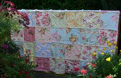 Floral Shabby Chic Quilt by SeasonOfTheStitch on Etsy, $280.00
