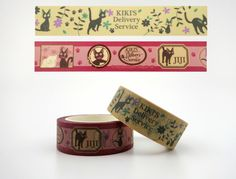 2 Kiki's Delivery Service Japanese washi tape rolls - Studio Ghibli kawaii masking tape - Hayao Miyazaki - Jiji - black cat - cute kitty