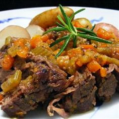 Simple Beef Pot Roast - Cooking this in a cast iron dutch oven makes all the difference! I've made this recipe and it comes out perfect.