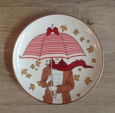 Singing in the rain plate by secdus on Etsy