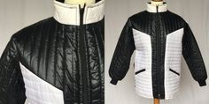 70's Black & White vintage coat 70s Puffy Ski Jacket  Womens Puffer M-L NEW winter top retro hipster jacket quilted coat street style by RosaBoutiqueStudio on Etsy