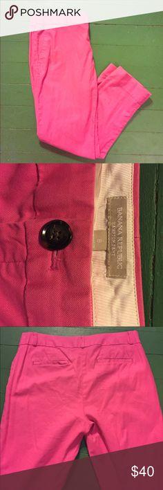 "Hot Pink Banana Republic Capris Hot pink banana republic ""Hampton pant"" size 8. Cute cute. 108 Banana Republic Pants"