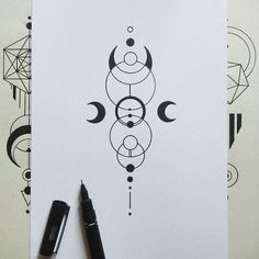 geometry and uneven moons for good morning  #geometry #geometrictattoo #symmetry #inkdrawing #iblackwork #linework #illustration #equilattera #blackwork #sacredgeometry #onlyblackart #blackflashwork #tattoopins #blxckink