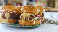 Bang Bang Burgers Have The Most Addictive Sauce - Burger Recipes Hamburger Recipes, Beef Recipes, Cooking Recipes, Stuffed Burger Recipes, Yummy Recipes, Stuffed Burgers, Recipies, Sandwich Recipes, Appetizer Recipes