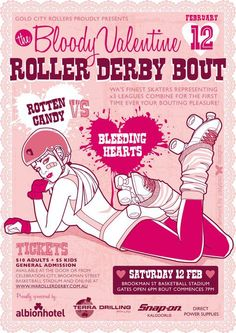 Bloody Valentine (Gold City Rollers). Poster by Paula Fletcher of Calypso Designs.