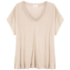 East Linen Plait Detail Top, Stone ($27) ❤ liked on Polyvore featuring tops, t-shirts, shirts, linen shirts, v neck tee, short sleeve t shirts, v neck t shirts and short-sleeve shirt