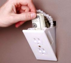 Hidden Outlet Wall Safe – $9 I will have at least 2 of these in every room of my home that Owen will not know about anything Mommy wants to not share will go in here ;) .