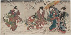 Women and Children Playing in Snow 雪遊び Japanese Edo period Artist Utagawa Kunisada I (Toyokuni III) (Japanese, Japanese Prints, Japanese Art, Snowball Fight, First Snow, Museum Of Fine Arts, Winter Scenes, Traditional Art, Beauty And The Beast, Kids Playing