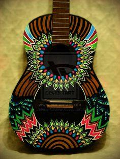 Printing Videos Architecture Home Guitar Art Diy, Acoustic Guitar Art, Ukulele Art, Guitar Painting, Music Guitar, Guitar Case, Ukulele Design, Graffiti, Frida Art