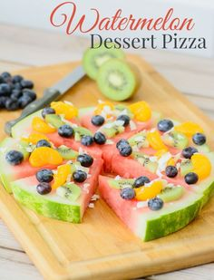 Watermelon Dessert Pizza. Make pizza night fun and healthy with the addition of this yummy dessert pizza