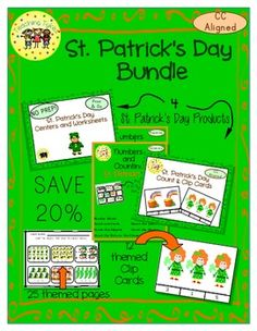 4 St. Patrick's Day-Related Products valued at $5 - offered in this bundle for $4 – 20% discount!! 25 pages of Thematic Center Ideas and Worksheets AND 12 Clip Cards!