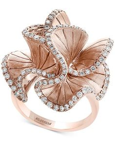 Pave Rose by Effy Diamond Flower Ring ct.) in Rose Gold - Gold 10 Carat Diamond Ring, Rose Gold Diamond Ring, Pink Ring, Diamond Wedding Rings, Rose Gold Flower Ring, Diamond Flower, Rose Gold Jewelry, Fine Jewelry, Flower Rings