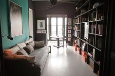Dark floor to ceiling library