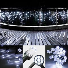 Flamaker Led Icicle Lights Christmas Fairy Twinkle Lights 120 LEDs 138 ft Linkable String Starry lights For Home Party Holiday Wedding Patio Kitchen DecorationsCool White >>> For more information, visit image link.