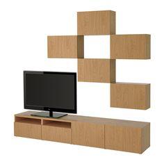 BESTÅ TV storage combination - Lappviken oak effect, drawer runner, soft-closing - IKEA