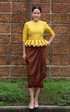 Myanmar Traditional Dress, Thai Traditional Dress, Traditional Outfits, African Fashion Dresses, African Dress, Fashion Outfits, Thai Fashion, Unique Fashion, Kebaya Dress