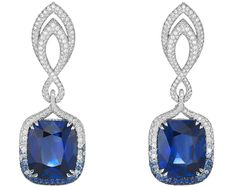 CHOPARD 2016 RED CARPET COLLECTION ~ Earrings</b> in18ct white gold set withcushion–shaped vivid–blue sapphires (31.6cts) and adorned withbrilliant–cut diamonds (3cts) and brilliant–cut sapphires