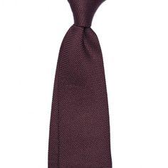 "Handrolled Grenadine ""Garza Fina"" Silk Tie - Burgundy"