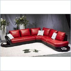 Modern Leather Sectional Sofa In Two Tone Black And Red Review