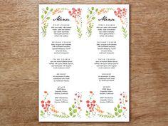 Menükarte Vorlage - Watercolor Flowers