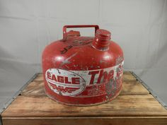 Vintage Eagle Gas Can 2 1/2 Gallon Galvanized Can with Red and White Advertising Eagle Brand by WesternKyRustic on Etsy