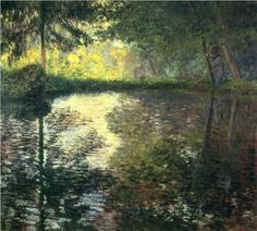 Pond at Montgeron by Claude Monet - Paintings from Hermitage Museum Claude Monet, Pierre Auguste Renoir, Camille Pissarro, Monet Paintings, Landscape Paintings, Artist Monet, Hermitage Museum, Impressionist Paintings, Beautiful Paintings