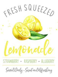 Lemonade Stand Printables - Clean and Scentsible, Fresh squeezed lemonade free summer printable. Cute for any summer decor or a fun lemonade bar or beverage cart. Summer Diy, Summer Crafts, Free Summer, Drink Cart, Beverage Cart, Lemonade Sign, Fresh Squeezed Lemonade, Lemon Art, Lemon Kitchen
