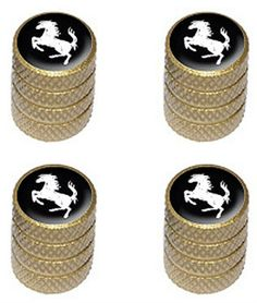 "Amazon.com : (4 Count) Cool and Custom ""Diamond Etching Horse Rearing Up Top with Easy Grip Texture"" Tire Wheel Rim Air Valve Stem Dust Cap Seal Made of Genuine Anodized Aluminum Metal {Crisp Volvo Gold and Black Colors - Hard Metal Internal Threads for Easy Application - Rust Proof - Fits For Most Cars, Trucks, SUV, RV, ATV, UTV, Motorcycle, Bicycles} : Sports & Outdoors"