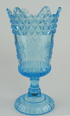 "VTG ITALY BALBOA VENETIAN GLASS ICE BLUE LARGE RUFFLED EDGE FRUIT BOWL 12/"""