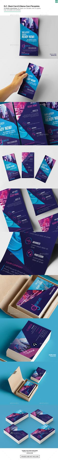 DJ / Rack Card and Business Card Template  #advertising  #commercial • Click here to download ! http://graphicriver.net/item/dj-rack-card-and-business-card-template/15993978?ref=pxcr
