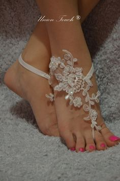 Barefoot Sandals, ivory beach shoes, bridal sandals,  wedding bridal, silver frame lace sandals, wedding shoes, summer wear, lace sandals