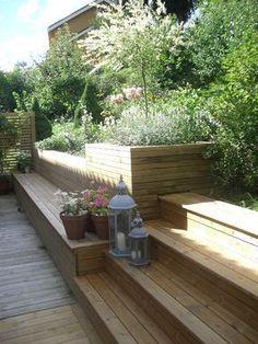 backyard designs – Gardening Ideas, Tips & Techniques Hillside Landscaping, Modern Landscaping, Back Gardens, Outdoor Gardens, Pergola, Sloped Garden, Garden Steps, Garden Seating, Balcony Garden
