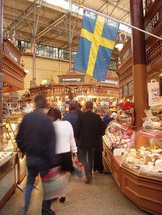 Östermalmshallen, a historic covered food market hall in Stockholm, Sweden.