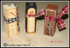 The Decorative Painting Store: We Three Blockheads Ornament Pattern, Newly Added Painting Patterns / e-Patterns Christmas Wood Crafts, Snowman Crafts, Noel Christmas, Winter Christmas, Holiday Crafts, Christmas Decorations, Christmas Ornaments, Christmas Porch, German Christmas