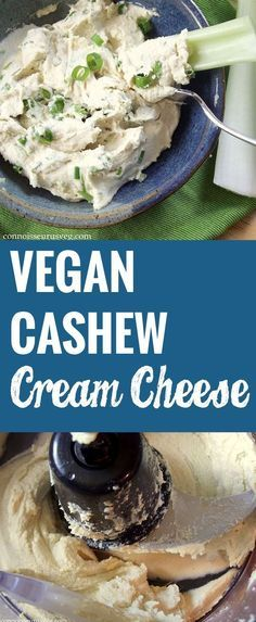 Vegan Cashew Cream Cheese 1 cup raw cashews, soaked in water hours 2 tbsp. n… Vegan Cashew Cream Cheese 1 cup raw cashews, soaked in water hours 2 tbsp. Vegan Cheese Recipes, Vegan Cream Cheese, Vegan Sauces, Vegan Foods, Vegan Dishes, Dairy Free Recipes, Raw Food Recipes, Vegetarian Recipes, Healthy Recipes