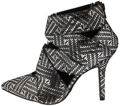 MIXI136 BLACK SILVER WOMEN'S HEEL FASHION WOVEN CUT OUT POINTED HEELS ONLY $10.88. All women's shoes, heels, wedges, sandals, and flats are $10.88 a pair.
